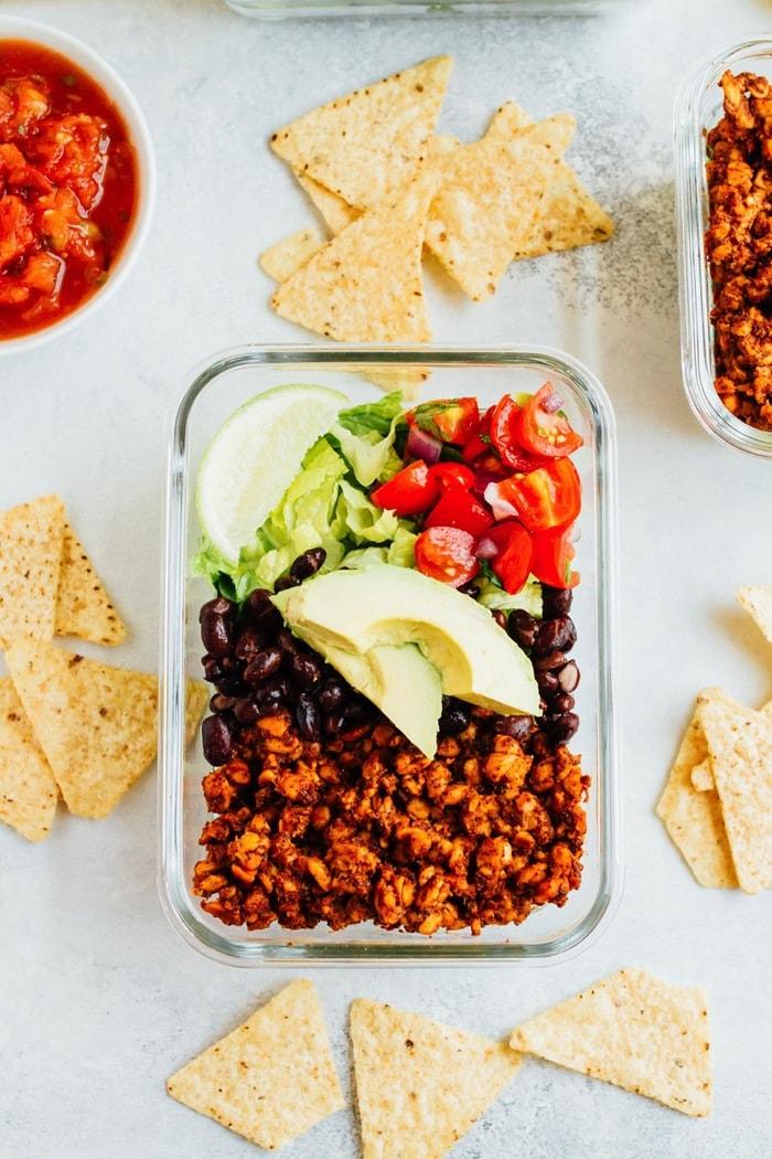 vegan tempeh taco bowl