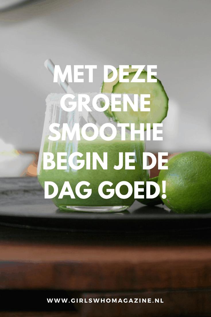 Groene smoothie om de dag vol energie te beginne. Recept voor een gezonde smoothie. #gezondontbijt #gezondesmoothie #receptgroenesmoothie