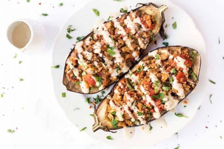 recept gevulde aubergine - gevulde aubergine - vegetarische gerechten - recept quinoa - gezonde recepten - mediterrane recepten