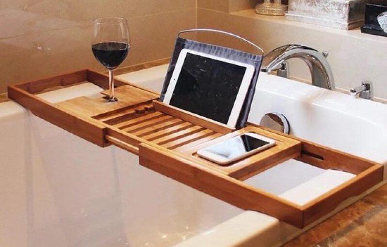 badplank - in bad - spa in bad - ontspannen in bad - bad accessories - badplanken - luxe badplank - bad