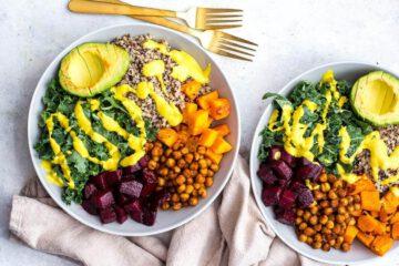recept buddha bowl - recepten - vegan - veganistisch - tahini - kurkuma - vegetarisch - gezonde recepten - makkelijke recepten