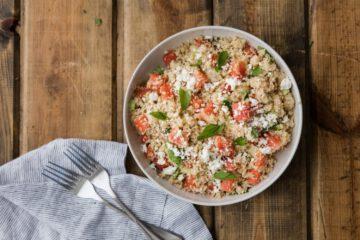 watermeloen recepten - recept watermeloen - frisse recepten - zomerse recepten - gezonde recepten - makkelijke recepten - recepten met fruit - watermeloenen - vegetarische recepten - vegan recepten - couscous - feta