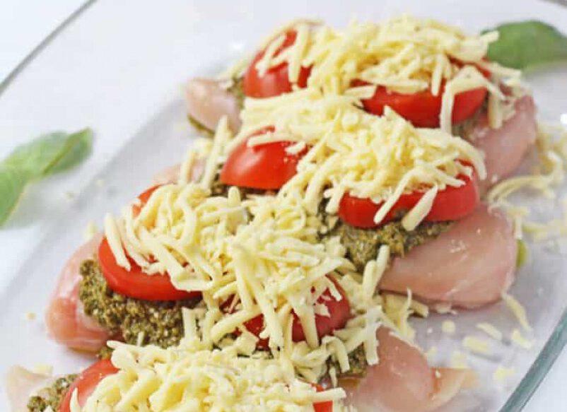 kip recept - kip uit de oven - oven recept - oven recepten - kip uit de oven - recept met mozzarella - recept met pesto - kip pesto recept