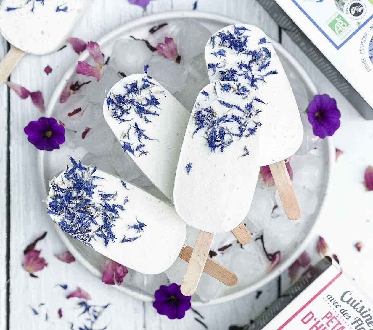 kokosijs recept - kokosijs maken - kokosijs recepten - kokosijs zelf maken - ijs met eetbare bloemen - ijsje met eetbare bloemen