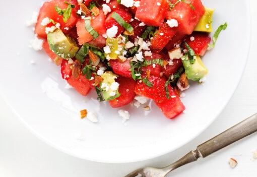recept zomerse salade - recept watermeloen - recept feta - salade recepten - frisse salades - frisse recepten - zomer recept - recept aardbeien - aardbei recept - fruit salade recept